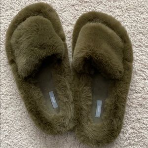 Brand new aerie fur slippers. Olive color
